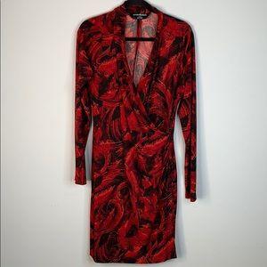 Norma kamali red black feather faux wrap dress XL